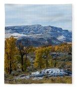 Snow Falls On Autumn Fleece Blanket
