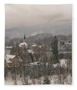 Snowy Bled In Slovenia Fleece Blanket