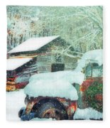 Softly Snowing On The Country Farm Fleece Blanket