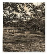 Solitude In Black And White With Sepia Tones Fleece Blanket