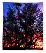 Sonoran Sunrise Ironwood Silhouette Fleece Blanket