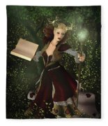 Sorceress And Magic Fleece Blanket