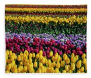 Spectacular Rows Of Colorful Tulips Fleece Blanket