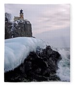 Split Rock Lighthouse Winter Fleece Blanket