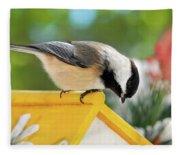 Spring Chickadee Fleece Blanket