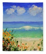 Spring Flowers And Sea And Clouds Fleece Blanket