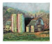 Spring On The Farm - Old Barn With Two Silos Fleece Blanket