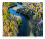 Springtime On The Manistee River Aerial Fleece Blanket