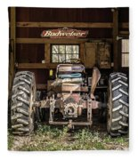 Square Format Old Tractor In The Barn Vermont Fleece Blanket
