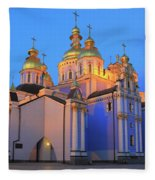 St Michael's Golden-domed Monastery At Dusk Kiev Ukraine Fleece Blanket