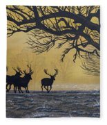 Stags At Dawn Fleece Blanket