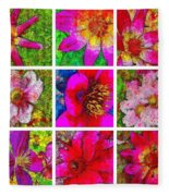 Stained Glass Pink Flower Collage  Fleece Blanket