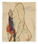 Standing Nude With A Patterned Robe, 1917  Fleece Blanket