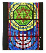 Star Of David Stained Glass Fleece Blanket