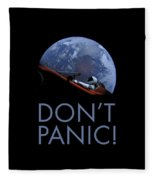 Starman Don't Panic In Orbit Fleece Blanket