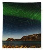 Startrail Over Northern Lights Fleece Blanket