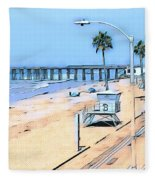 Station 3 Oceanside California Fleece Blanket