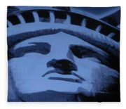 Statue Of Liberty In Cyan Fleece Blanket