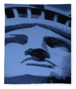 Statue Of Liberty In Cyan Fleece Blanket