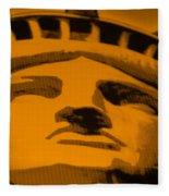 Statue Of Liberty In Orange Fleece Blanket