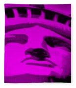 Statue Of Liberty In Purple Fleece Blanket