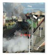 Steam Train Leaving Station Fleece Blanket