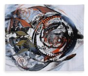 Steampunk Metallic Fish Fleece Blanket