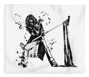 Steven Tyler Microphone Aerosmith Black And White Watercolor 01 Fleece Blanket