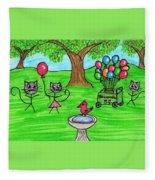 Stick Cats #7 Fleece Blanket