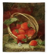 Still Life Of Strawberries With A Cabbage White Butterfly Fleece Blanket