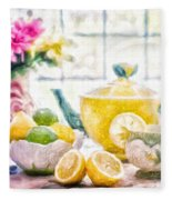 Still Life With Lemons Fleece Blanket