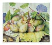 Still Life With Plums, Walnuts And Jasmine Fleece Blanket