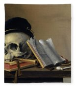 Still Life With Skull, Books, Flute And Pipe Fleece Blanket