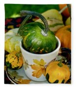 Still Live With Autumn Coffee Cup And Gourds Fleece Blanket