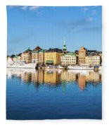 Stockholm Old City Fantastic Golden Hour Sunrise Reflection In The Baltic Sea Fleece Blanket