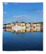 Stockholm Old City Sunrise Reflection In The Baltic Sea Fleece Blanket