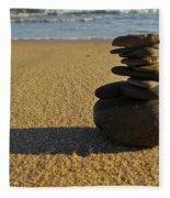 Stone Balance On The Beach Fleece Blanket
