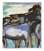 Stone Barn Cows Fleece Blanket