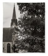 Stone Chapel - Black And White Fleece Blanket by Allin Sorenson