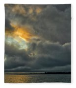 Storm Approaches At Sunset Fleece Blanket
