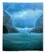 Storm Clouds Invade Ha Long Bay Blue Rain  Fleece Blanket