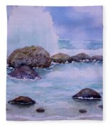 Stormy Shore On Nisyros Greece Fleece Blanket