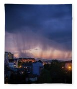 Stormy Weather Over The Small Town Fleece Blanket