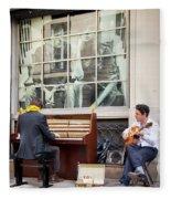 Street Musicians - Paris Fleece Blanket by Brian Jannsen