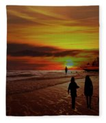 Strolling The Beach At Olon Fleece Blanket