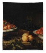 Studio Of Francois Garnier Paris 1600 - 1672 Still Life With A Bowl Of Cherries Fleece Blanket