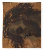 Study For The Head Of Christ In A Crucifixion Fleece Blanket