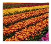 Stunning Rows Of Colorful Tulips Fleece Blanket