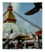 Stupa Bodhnath Kathmandu, Nepal - October 12, 2018 Fleece Blanket by Raimond Klavins