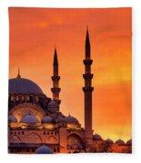 Suleymaniye Mosque At Sunset Fleece Blanket